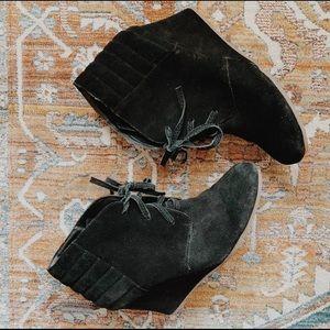 Black suede Dolce Vita wedge booties